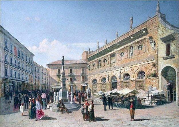 Immagine storica della piazza della Dogana di Avellino